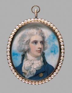Mr. C Bradshaw (by Richard Cosway)England   1790Watercolor portrait on ivory  Cincinnati Museum of Art  I love portraits on ivory. This one in particular is delicious.