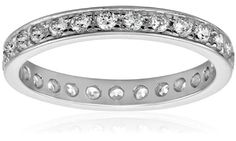 Sterling Silver Round-Cut Channel-Set Cubic Zirconia All-Around Band Ring  (0.75 cttw), Size 7 ** To view further for this item, visit the image link.