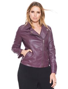 Classic Faux Leather Moto Jacket Wine