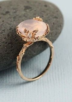 Rose Quartz Ring--- I just love rose gold rings.