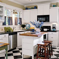 Black-and-White Cottage Kitchen | Southern Living #kitchen #white kitchen #cottage kitchen