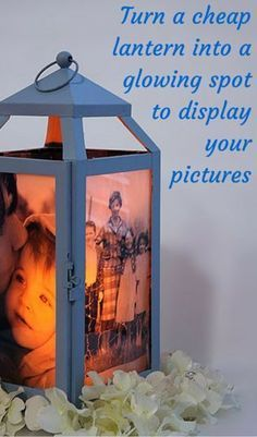 Turn A Cheap Lantern Into A Glowing Spot To Display Your Pictures http://www.hometalk.com/l/d4j