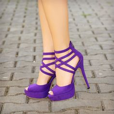2018 pantone color of the year, pantone color of the year Purple Peep Toe Heels Suede Platform Strappy Sandals for Party, Big day, Anniversary Lila High Heels, Purple High Heels, Purple Heels Wedding, Purple Sandals, Lace Up Heels, Peep Toe Heels, Stiletto Heels, Shoes Heels, Punk Outfits