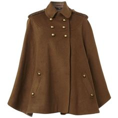 Tweed Contrast Cape Coat (11.685 HUF) ❤ liked on Polyvore featuring outerwear, coats, jackets, cape, tan, brown cape, long brown coat, tan coat, long coat and long cape coat