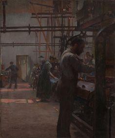 Jules ADLER (1865-1952)  Huile sur toile  « Ouvriers dans une manufacture »  Galerie Johann Naldi -Paris IX - Photo Raphaële Kriegel www.photographe-tableau-paris.com
