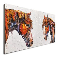 Amazon.com: Horse Wall Decor Handmade Painting Horses Painting Large Running Horse Original Painting Abstract Horse Wall Painting Textured Painting Contemporary Modern Palette Knife Painting On Canvas: Handmade