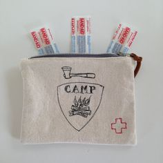 First Aid Pouch, CAMP, free motion embroidery, campfire, camp supply Free Motion Embroidery, Half Apron, Camping Supplies, Dry Goods, Band Aid, First Aid, Cotton Thread, Tea Towels, Paddle