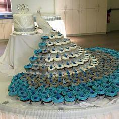 Peacock cupcake display