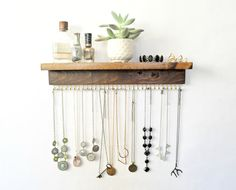 Wall Necklace Holder by TheKnottedWood on Etsy
