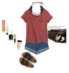"""""""Got a 4 day weekend 🤗"""" by abigailcdunn ❤ liked on Polyvore featuring Charlotte Russe, Zara, H&M, Birkenstock, Essie, Max Factor, Maybelline and NYX"""