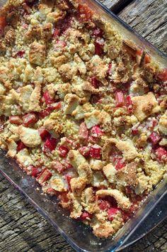 Rabarber crumble med marcipan chunks, Danmark,Andet, Lækkeri, Bagværk, opskrift