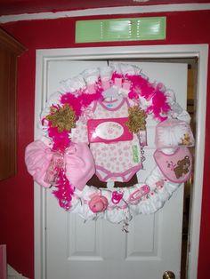 www.facebook.com/kaylaskustomwreaths $45 Babyshower, Baby Girl, Gift, Pink, Diapers, Diaper Wreath, Cute Bears, Baby Toys, Baby Blanket, Baby Outfit, Bib, Pink Boa, Pink Baby, Hospital Door, Newborn, Custom, Custom Wreath, DIY