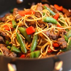 Quick Beef Lo Mein- Need a quick and healthy weeknight meal? This beef lo mein comes together super fast and is a great way to use up leftovers. Try leftover pasta, steak, roast beef or chicken in this recipe with delicious results. Frozen Chinese veggies are also a great option when you are low…