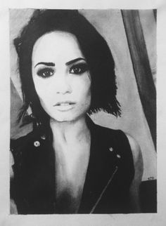 Charcoal drawing of Demi Lovato