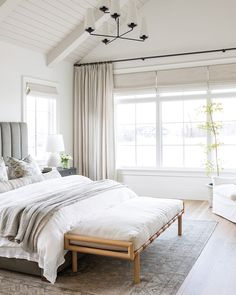Refresh with a great night's rest. Explore our new collection of eco-friendly materials for blackout shades and more at theshadestore.com. #LoveYourWindows #Refresh // Design: Studio McGee // Photo: Lucy Call Farmhouse Master Bedroom, Master Bedroom Design, Home Bedroom, Airy Bedroom, Dream Master Bedroom, Master Bedroom Decorating Ideas, Light Bedroom, Coastal Master Bedroom, All White Bedroom