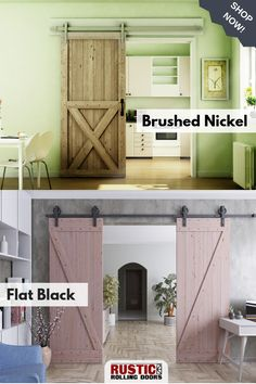 Our single and double bar door hardware kits are available in Brushed Nickel or Flat Black finish. Get the right hardware kit for your installation, Browse our barn door hardware today! Barn Door Closet, Diy Barn Door, Barn Door Hardware, Interior Barn Doors, Room Interior, Door Stays, Double Barn Doors, Rustic Doors, Creative Decor