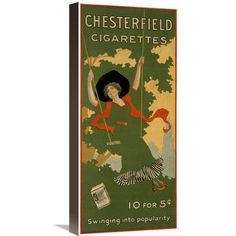Global Gallery 'Chesterfield Cigarettes' Vintage Advertisement on Wrapped Canvas Size: