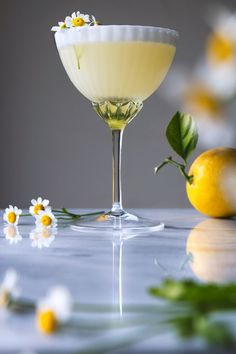 Lemon Chamomile Spring Cocktail | HonestlyYUM (http://honestlyyum.com) food photography, food styling