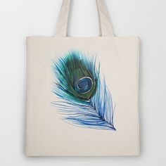 New from Mai Autumn - Peacock Feather Tote Bag on Society6 - $18