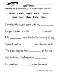 Human Body Parts Worksheet Have Fun Teaching