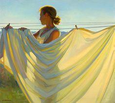Jeffery T. Larson (American, b. 1962) Yellow & Blue, 2005, o/c