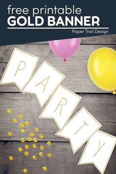 Print these fun gold banner letters to create any custom banner message that you need for a birthday, party, christmas, wedding, shower, or more. Gold Banner, Diy Banner, Create A Banner, Gold Letters, Letters And Numbers, Free Printable Banner Letters, Letter Templates, Banner Template, Free Printables
