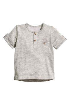 Short-sleeved Henley shirt - Grey marl -   H&M GB 1
