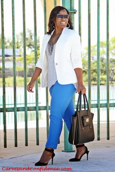 White on Point @FOREVER™™™ 21 Blazer, @Express   ankle trousers @Target Phillip Lim For Target purse