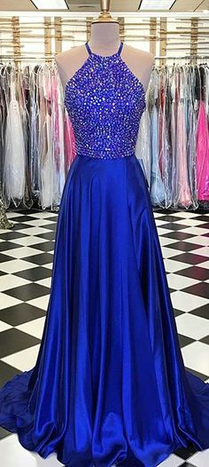 Royal Blue Prom Dresses with Beadings Halter Fashion 2018 Long Pageant Party Gowns Real Photo