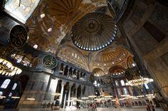 Inside the Hagia Sophia in Istanbul, Turkey