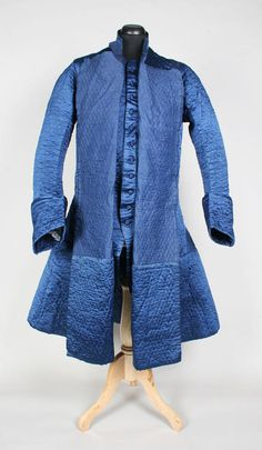 Blue silk 3/4 coat & matching vest. c 1760. (The quilting suggests this might well be a banyan.)