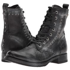 Frye Veronica Rebel Combat (Black Waxed Full Grain) Women's Lace-up... ($328) ❤ liked on Polyvore featuring shoes, boots, frye boots, studded combat boots, military boots, lace-up boots and combat booties