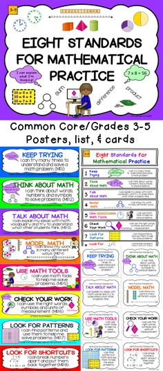 Common Core 8 Math Practice Standards!  Everything you need - posters, one page list, and cards to put on rings.  Grades 3-5 TpT $