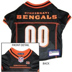 Cincinnati Bengals NFL Dog Jersey - Large  15% Discount - Use code DOGGIE at Checkout   http://www.gingersdoggieheaven.com #CincinnatiBengals 15% Discount - Use code DOGGIE at Checkout