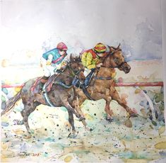 Watercolor Horse Racing, Horses, Watercolor, Artist, Painting, Animals, Pen And Wash, Watercolor Painting, Animales