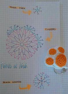 Ravelry: Kawaii Paw Cat pattern by Daniela Orlandi Crochet Diagram, Crochet Chart, Crochet Motif, Crochet Stitches, Crochet Patterns, Crochet Gifts, Diy Crochet, Crochet Toys, Crochet Keychain