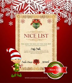 The printable santas nice list from free letter from santa claus the nice list certificate suprise your child with this personalised certificate personalised letters from santa spiritdancerdesigns Image collections