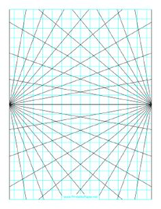 This perspective grid paper is formatted with two points and prints in portrait (vertical) mode. Angles at 10 degrees. Free to download and print