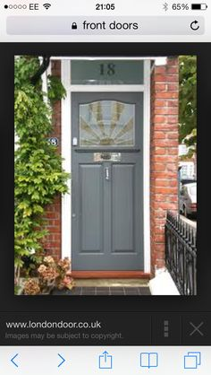 Front Door Paint Colors - Want a quick makeover? Paint your front door a different color. Here a pretty front door color ideas to improve your home's curb appeal and add more style! Front Door Paint Colors, Exterior Paint Colors, Exterior House Colors, Interior Exterior, Exterior Doors, 1930s House Exterior Uk, Paint Colours, Victorian Front Doors, Grey Front Doors