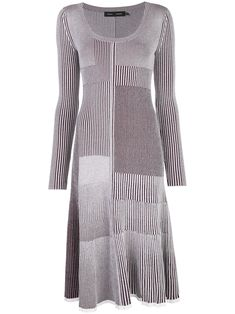 $990.0. PROENZA SCHOULER Dress Patchwork Knitted Dress #proenzaschouler #dress #clothing Knit Edge, Patchwork Designs, Proenza Schouler, Mid Length, Knit Dress, Bordeaux, Wool Blend, Long Sleeve, Sleeves