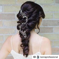 "Photo: Loving this gorgeous romantic bridal hairstyle from Jessica Roop Beauty & Boudoir, using our popular ""Twyla"" rhinestone bridal hair vine. Now available in gold!"