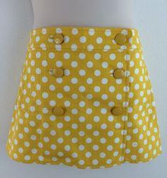 J CREW Yellow Polka Dot 100% Cotton Mod Mini Skirt 12 #JCrew #Mini