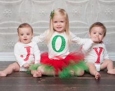 Christmas card idea (girls on each side in tutus with D in the middle)