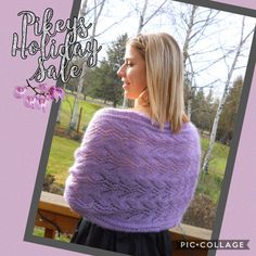 Lavender lace wrap is lovely for wedding or special occasion but just as fun with jeans and a turtleneck #pikeys #lace #lavenderlace #lavenderlove #lavenderlover💜 #lilaclove #knittersofinstagram #knitlace #etsyseller #winterwedding