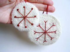 Snow White Christmas Ornaments Felt by SproutsPressDesigns on Etsy, $15.00