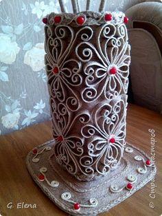 Вот такую чудесную вазу с цветами сотворила в качестве подарка ко дню рождению !  Именинница была в восторге!)Приятно приносить людям радость!! фото 5