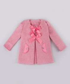 Mia Belle Baby Pink Bow Peacoat - Toddler & Girls #zulily *oh my word. This is so flipping cute.
