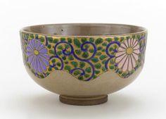 Ninsei style tea bowl, Nonomura Ninsei (1646-77). - Stoneware with enamels over clear glaze.