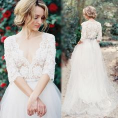 Fashion line wedding dress vintage elegant V neck lace wedding dresses 2015…