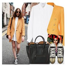 """2542. Street Style"" by chocolatepumma ❤ liked on Polyvore featuring Balmain, Oris, Jil Sander, Ray-Ban, CÉLINE and Converse"